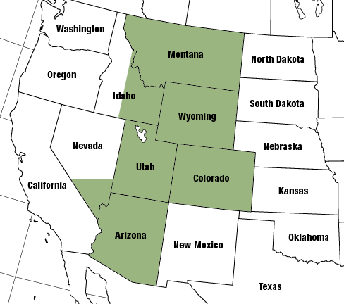 Nevada, New Mexico, Arizona, Colorado, Utah, Idaho, Wyoming, Montana